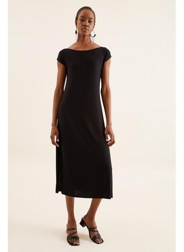 Quincey Yırtmaçlı Elbise Siyah